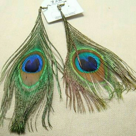 Handmade Jewelry - Blue Center Peacock Feather Earrings